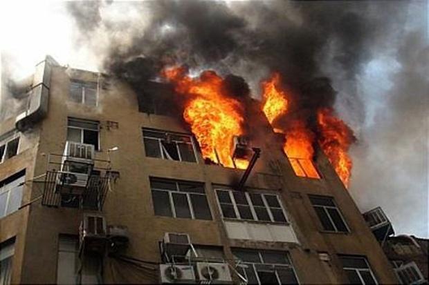 آتشسوزی ساختمان 6 طبقه در قزوین