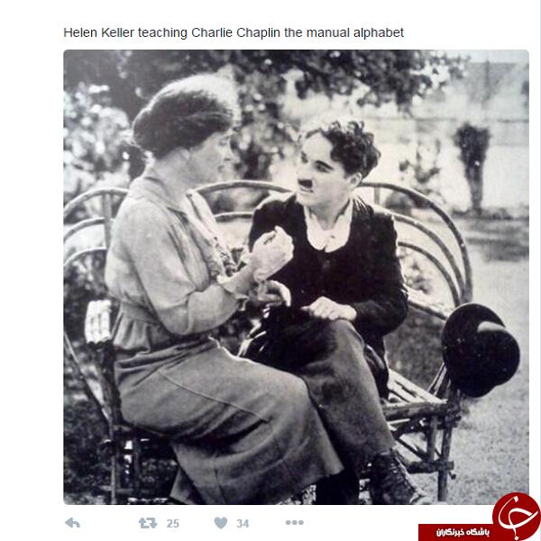 عکس/ آموزش زبان اشاره به چارلی چاپلین
