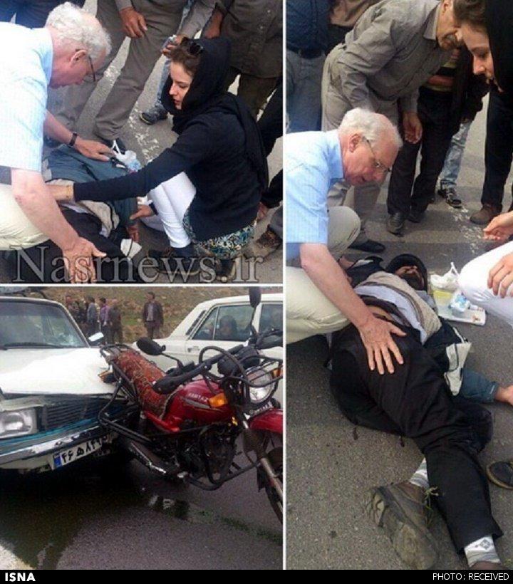 کمک 2 هلندی به مصدوم تبریزی + عکس