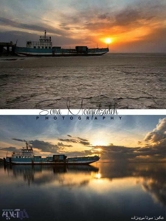 کشتی بهگلنشسته دریاچه ارومیه را آب گرفت+تصاویر