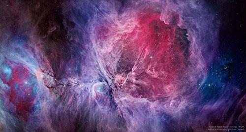 سحابی رنگارنگ شکارچی در نور مرئی و فروسرخ/عکس روز ناسا