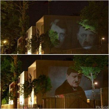 تصویر/ اردوغان و هیتلر روی دیوار سفارت ترکیه در آلمان