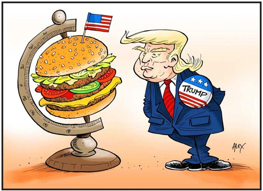 کاریکاتور/ ترامپ جهان را این شکلی میبیند!