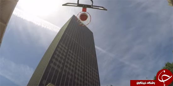 پرتاب توپ به داخل سبد از آسمانخراش 162 متری /تصاویر