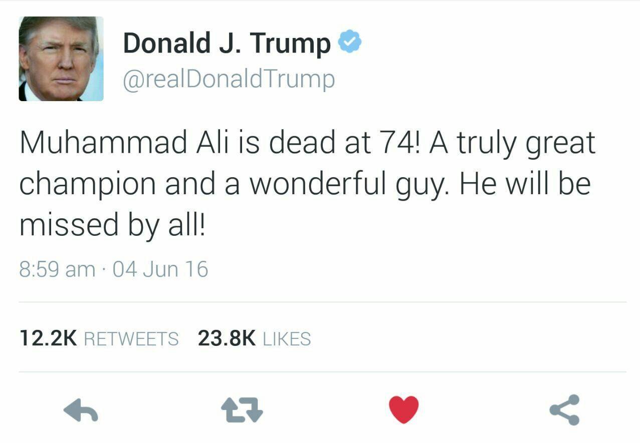 واکنش توئیتری ترامپ به درگذشت اسطوره بوکس جهان