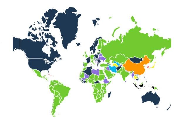 نمودار محبوبترین پیامرسانهای موبایلی در جهان به تفکیک کشوری