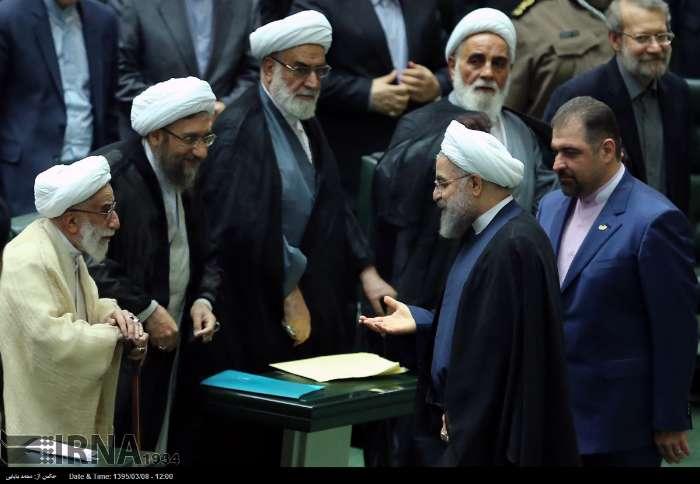 تصاویر/ خوش و بش روحانی و جنتی در مجلس