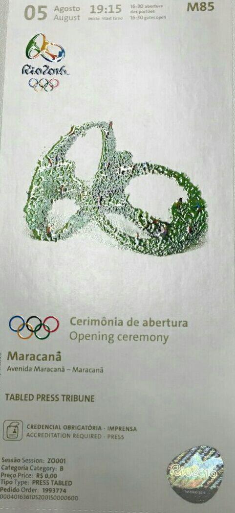 بلیت افتتاحیه المپیک ۲۰۱۶/تصویر