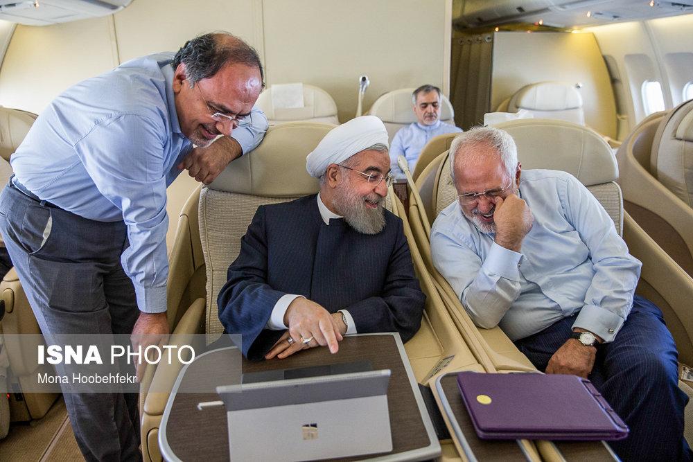 گزارش تصویری حال و هوای هواپیمای ریاست جمهوری در سفر به نیویورک