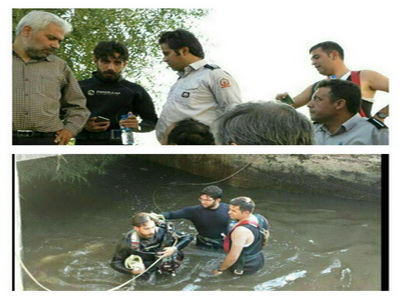 تصویر اب  زن جستجوی غواصان برای کشف جسد یک زن در کانال آب در پاکدشت+تصویر