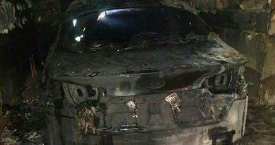 خودرو بازیکن لیگبرتری منفجر شد / عکس