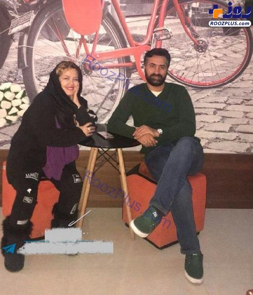 شلوار عجیب و غریب بازیگر خانم پرحاشیه در کنار همسرش+عکس