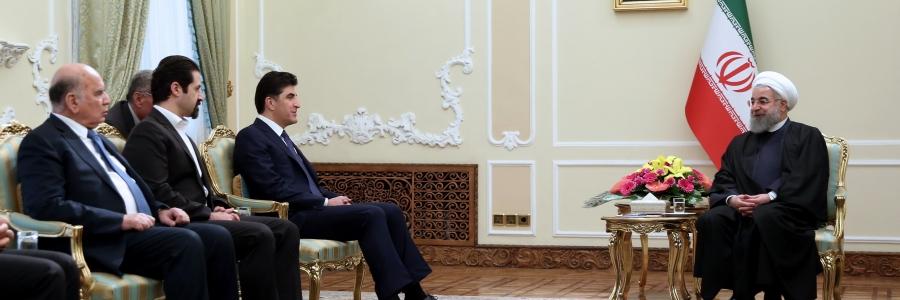 روحانی در دیدار بارزانی: ایران از عراق متحد حمایت میکند/ بارزانی: اقلیم به هیچکس اجازه استفاده از خاک این منطقه برای تهدید علیه ایران را نخواهد داد