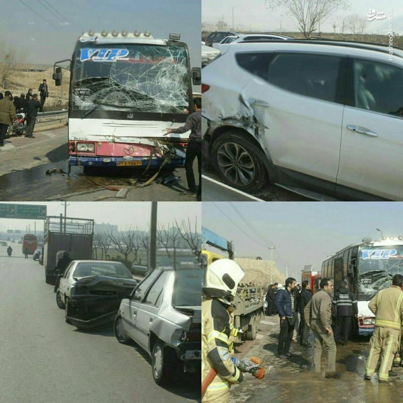 عکس/ تصادف زنجیرهای ۱۰ خودرو در اتوبان امام علی(ع) تهران