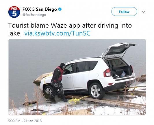 اپلیکیشن ویز راننده خودرو را به درون دریاچه فرستاد+عکس