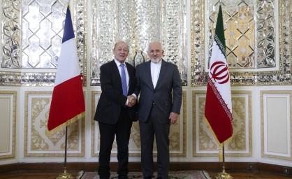 ظریف: موضوع موشکی ایران خارج از برجام و قطعنامه ۲۲۳۱ است/انتقاد از کارشکنی و فشارهای آمریکا/لودریان: فرانسه متعهد به اجرای برجام است