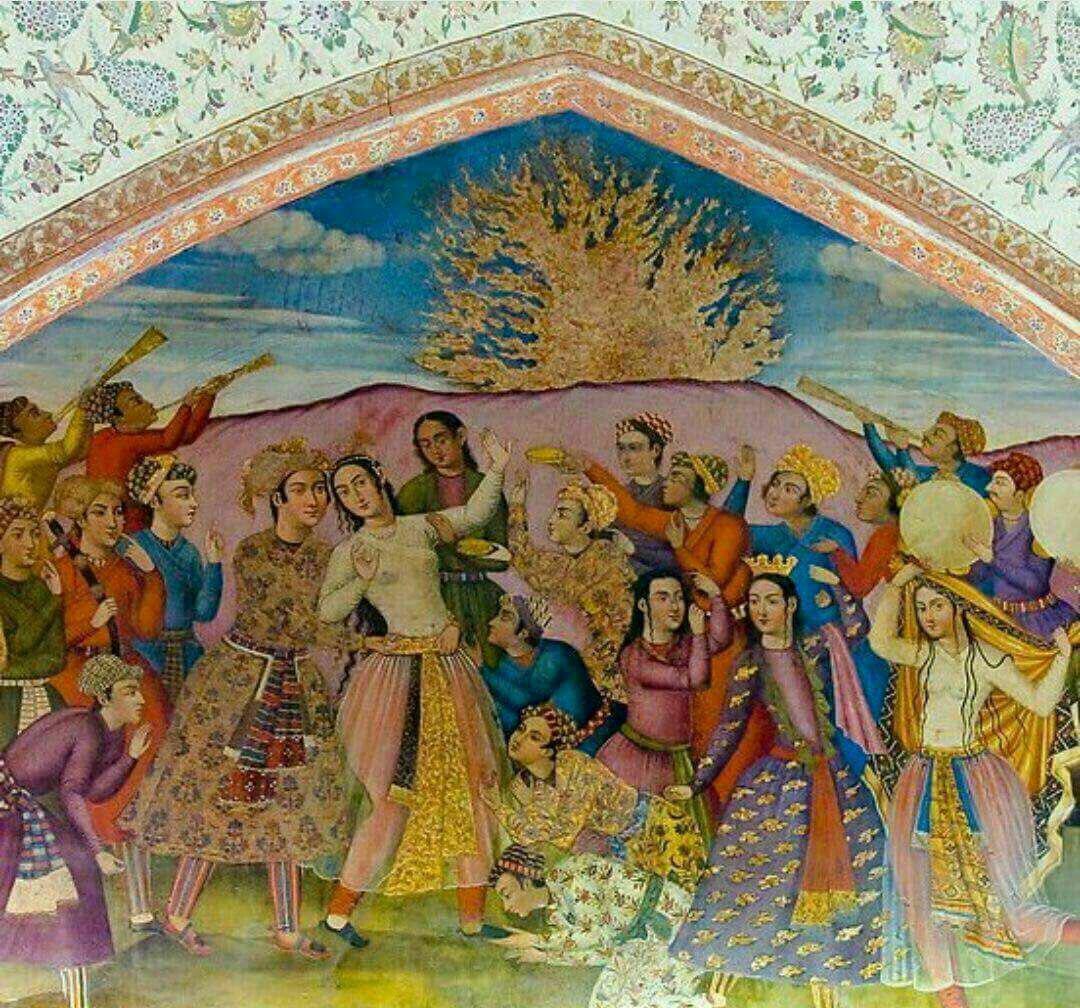 نقاشی چهارشنبه سوری در کاخ چهل ستون اصفهان
