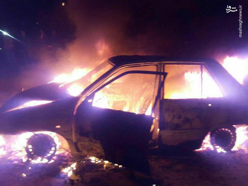 عکس/ پرایدی که در آتش چهارشنبهسوری سوخت