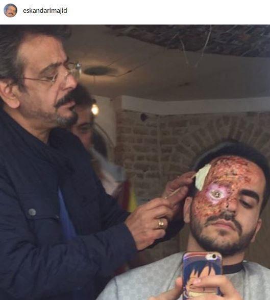 عکس/ گریم حیرتآور روی صورت آقای بازیگر