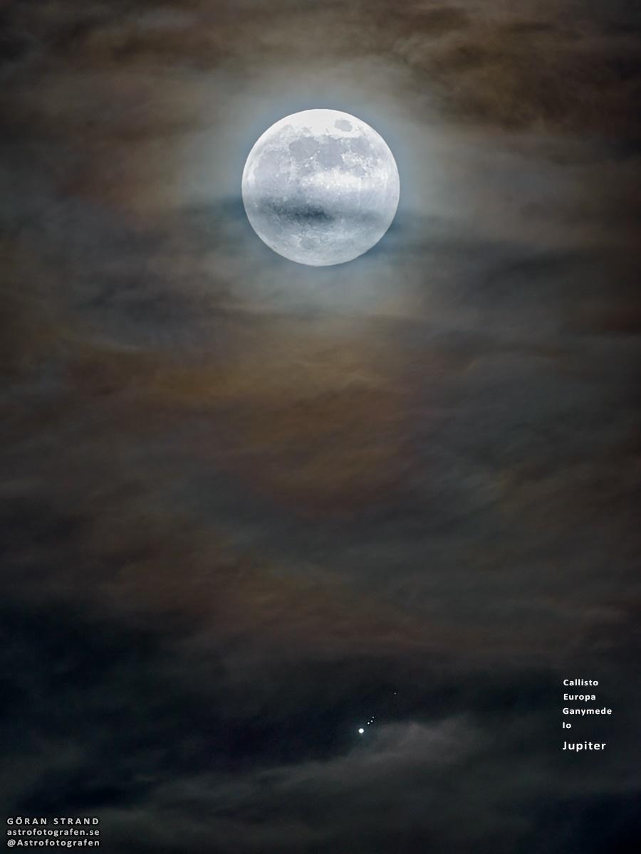 ماه،مشتری و ۴ قمر مشهور مشتری در یک قاب /عکس خارقالعاده نجومی
