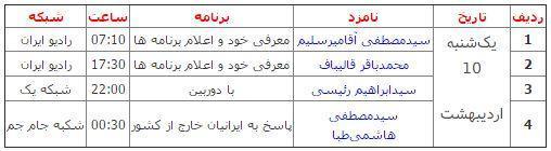 برنامه های امروز نامزدها در صداوسیما