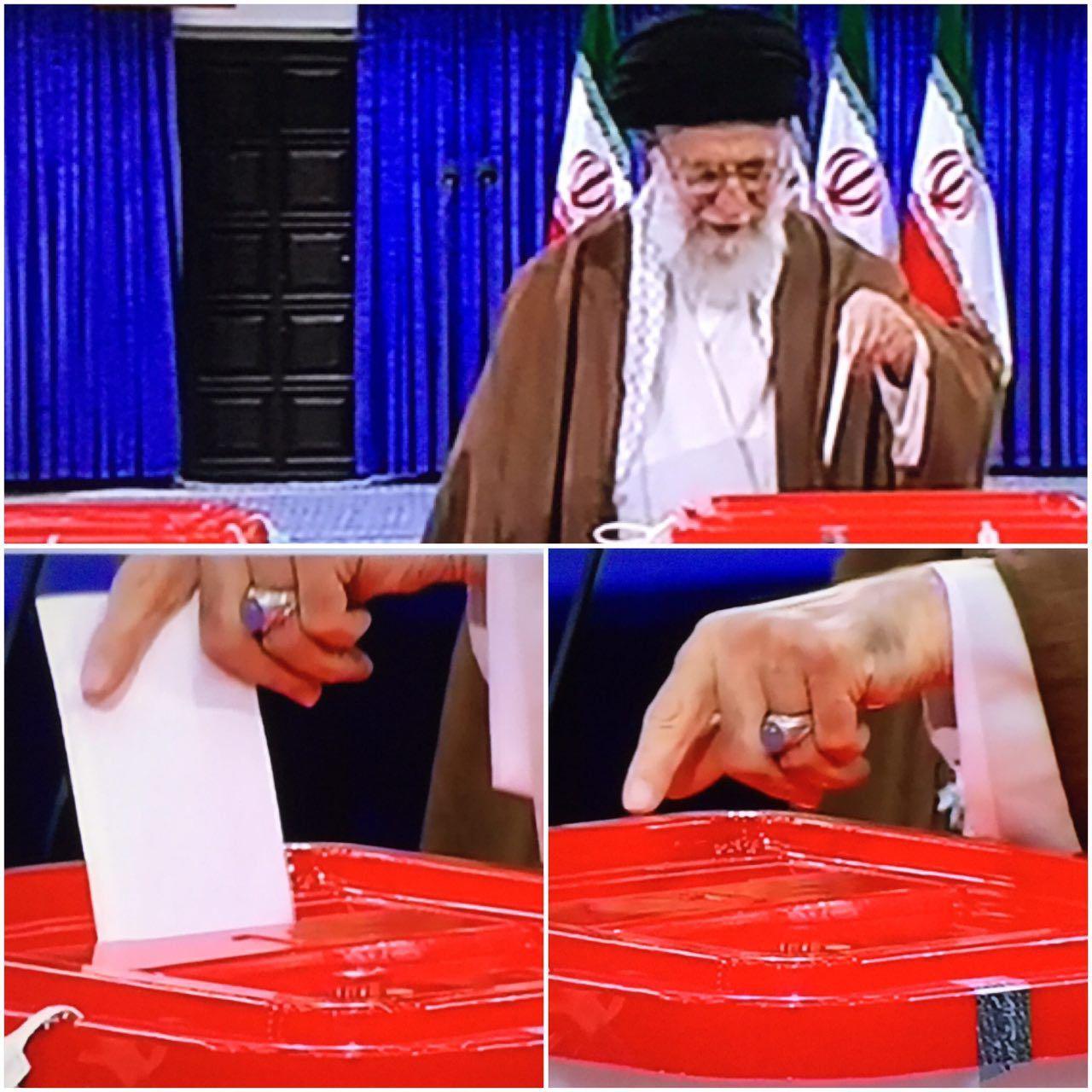 انگشتر رهبر انقلاب هنگام رای دادن/تصویر