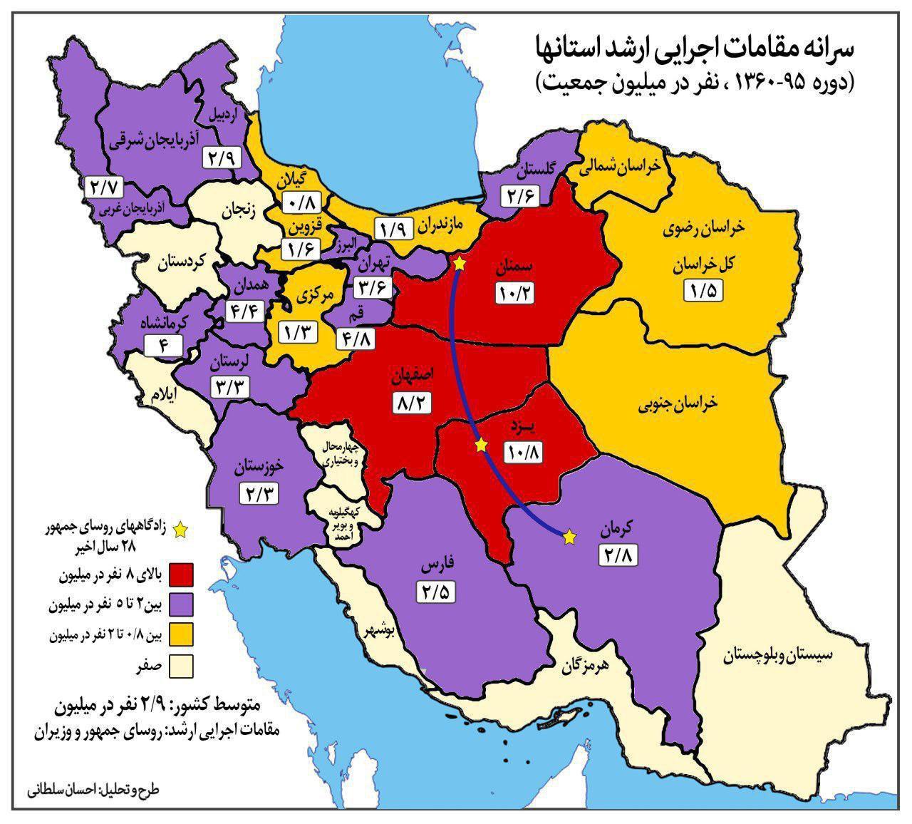 نحوه توزیع قدرت در دولتهای ایران/ بیشتر دولتمردان از کدام استان بودهاند؟/اطلاعاتی جالب درباره دولتهای بعد از انقثل+نقشه