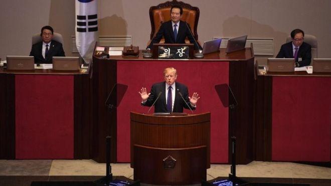 هشدار ترامپ به کرهشمالی: ما را محک نزنید/کره شمالی جهنمیست که کسی سزاوار آن نیست/ پای میزه مذاکره بیاید