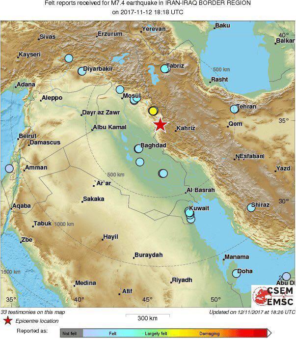 Afbeeldingsresultaat voor مکان زلزله، مرز ایران عراق در خاک عراق