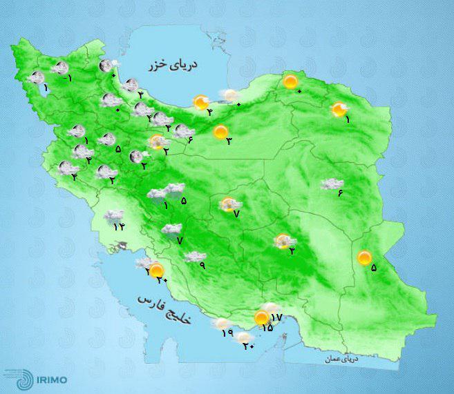 کدام استانها برف و باران میبارد؟+نقشه