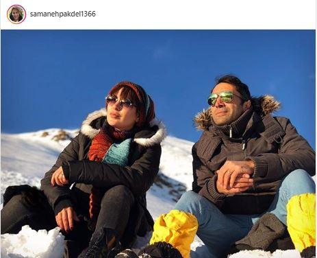 عکس برفی سمانه پاکدل و همسرش