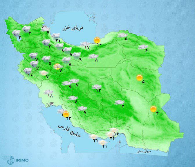 آمادهباش نیروهای امدادی| کدام استانها امروز سفیدپوش یا بارانی میشوند؟+نقشه