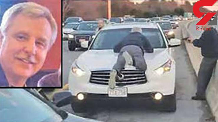 شگرد عجیب پیرمرد برای جلوگیری از فرار راننده +عکس