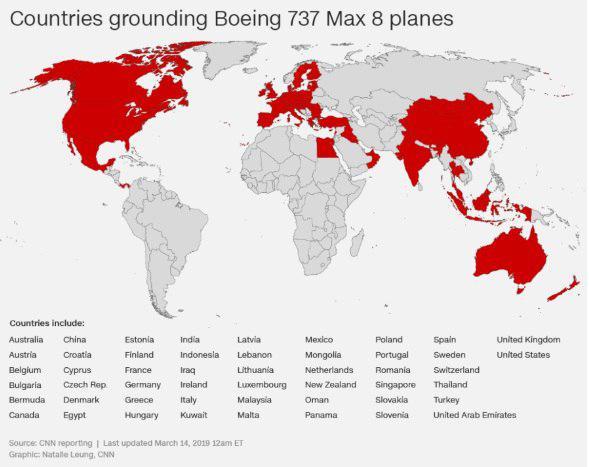 کدام کشورها بوئینگ 737 را زمینگیر کردند؟