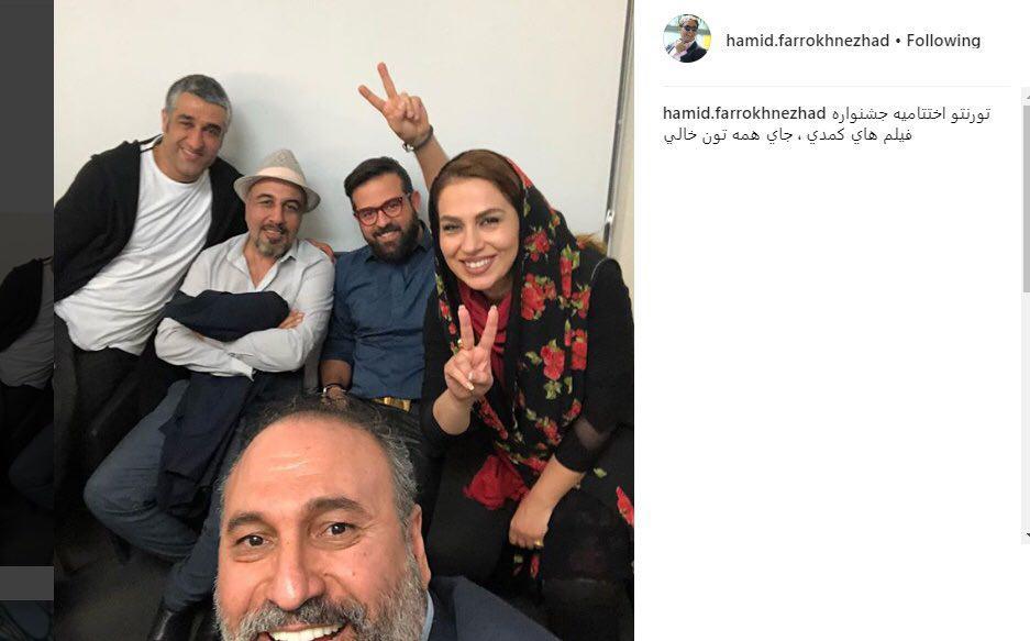 سلفی حمید فرخنژاد، رضا عطاران و پژمان جمشیدی در یک جشنواره خارجی /عکس