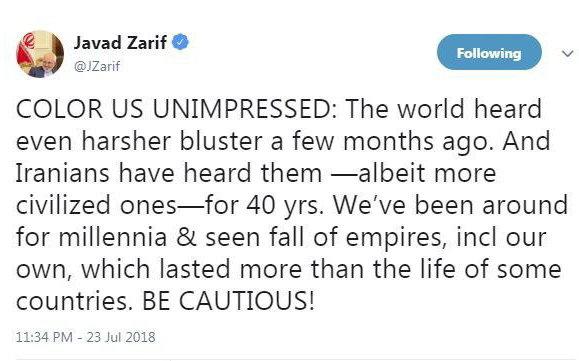 ظریف خطاب به مقامات کاخ سفید: مراقب باشید!/ما هزاران سال است که در اینجا بودهایم و سقوط امپراطوریها را دیدهایم