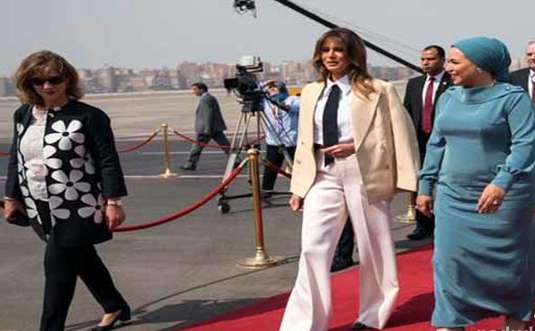 لباس نامتعارف ملانیا ترامپ در مصر جنجالی شد ! + عکس