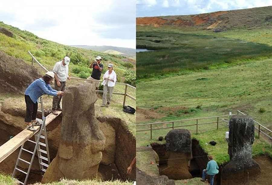 نیمی از مجسمههای سر معروف شیلی، زیر زمین بوده است
