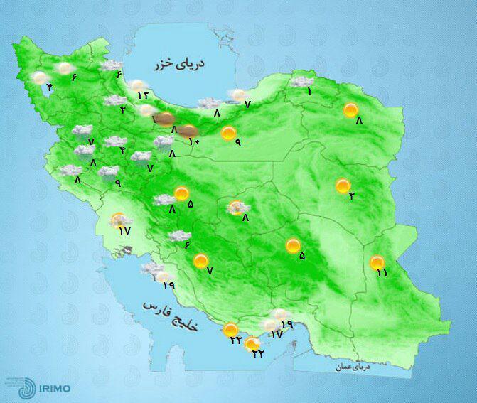 امروز کدام استانها بارانی است؟+نقشه