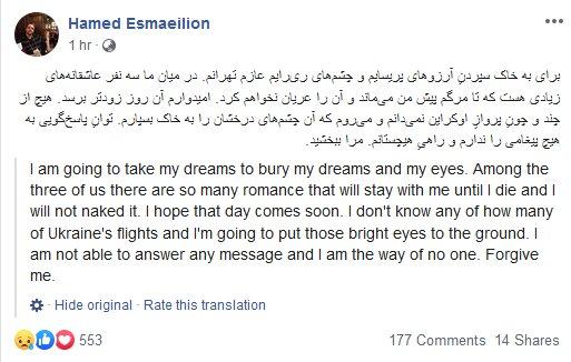 واکنش نویسنده ایرانی به درگذشت خانوادهاش در سقوط هواپیما