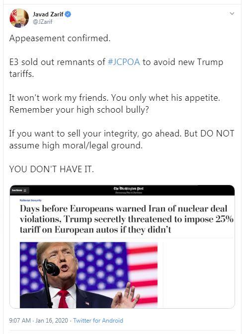 ظریف: اروپا، بقایای برجام را به ترامپ فروخت