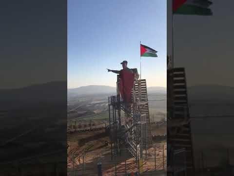 رونمایی از مجسمه سپهبد سلیمانی در مرزهای فلسطین اشغالی