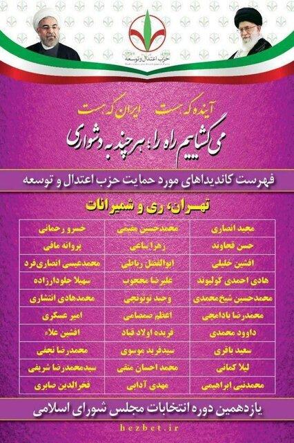 لیست حزب اعتدال و توسعه برای انتخابات مجلس+اسامی
