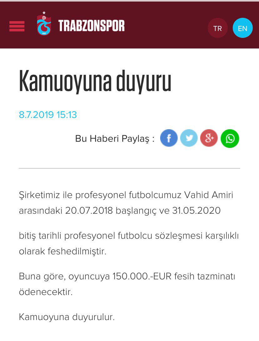 بیانیه رسمی ترابوزاناسپور برای وحید امیری: قراردادش فسخ شد!