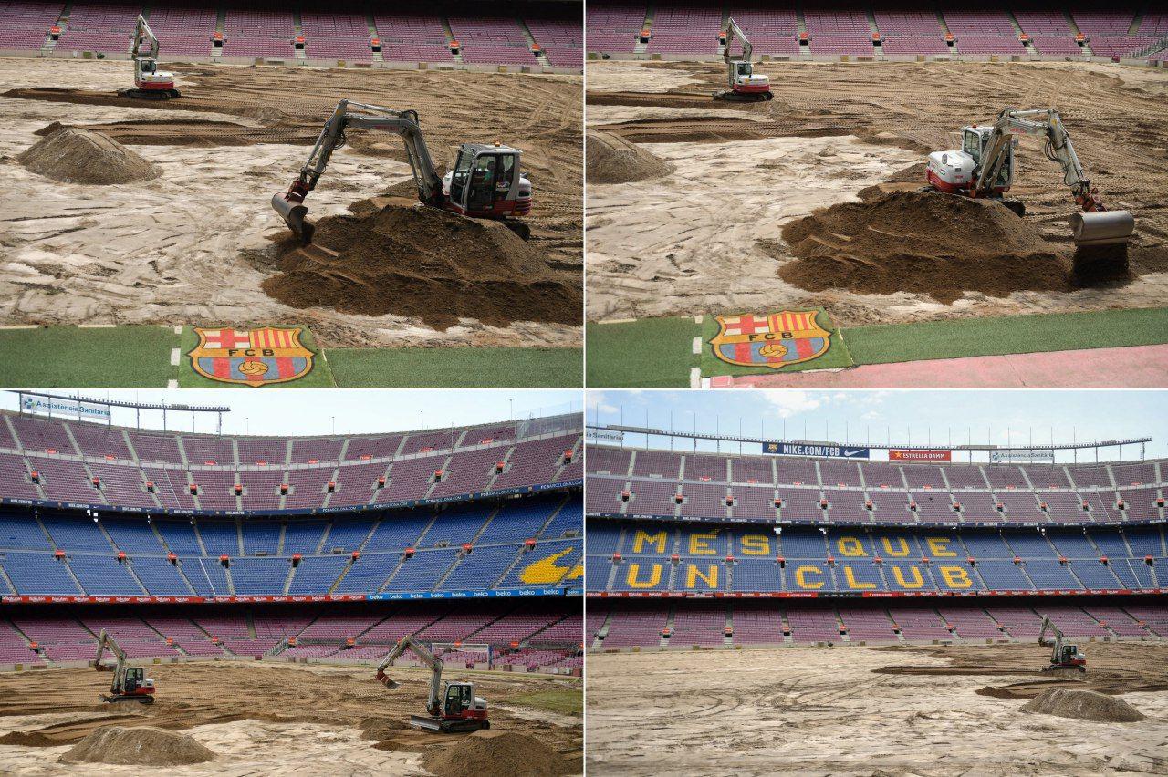 لودرها زمین چمن بارسلونا را ویران کردند/ عکس