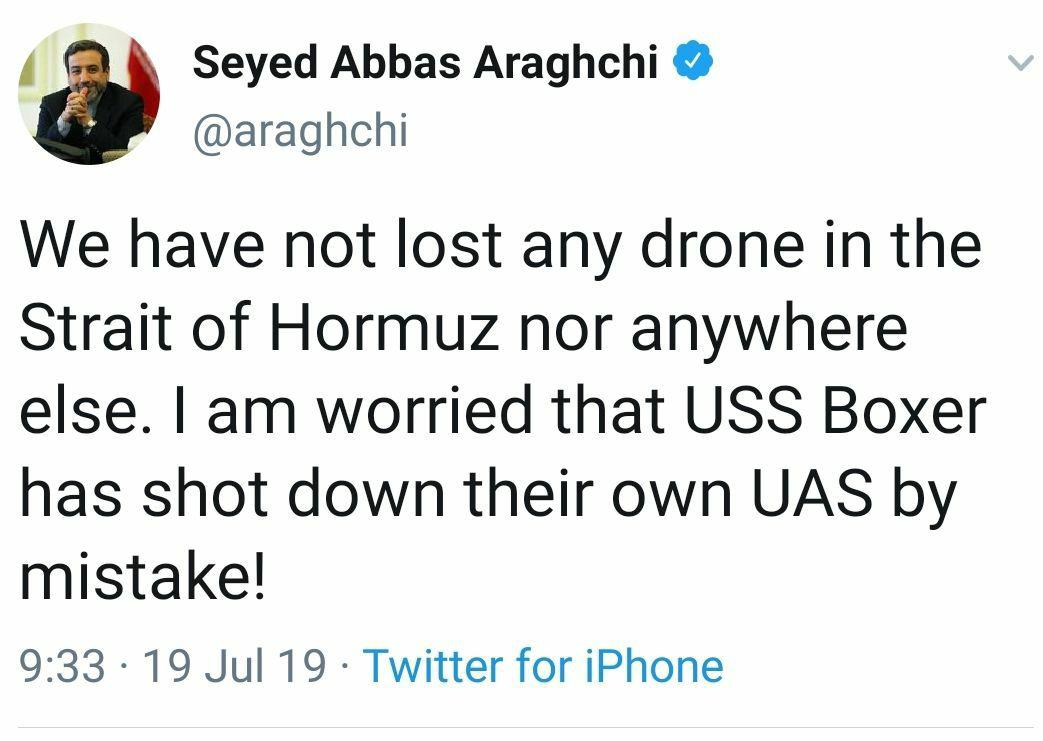 واکنش عراقچی به ادعای آمریکا درباره سرنگونی پهپاد ایرانی: هیچ پهپادی را از دست ندادهایم