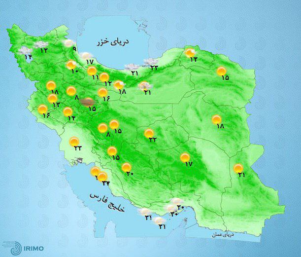 باران و گرد و خاک در استانهای کشور+نقشه