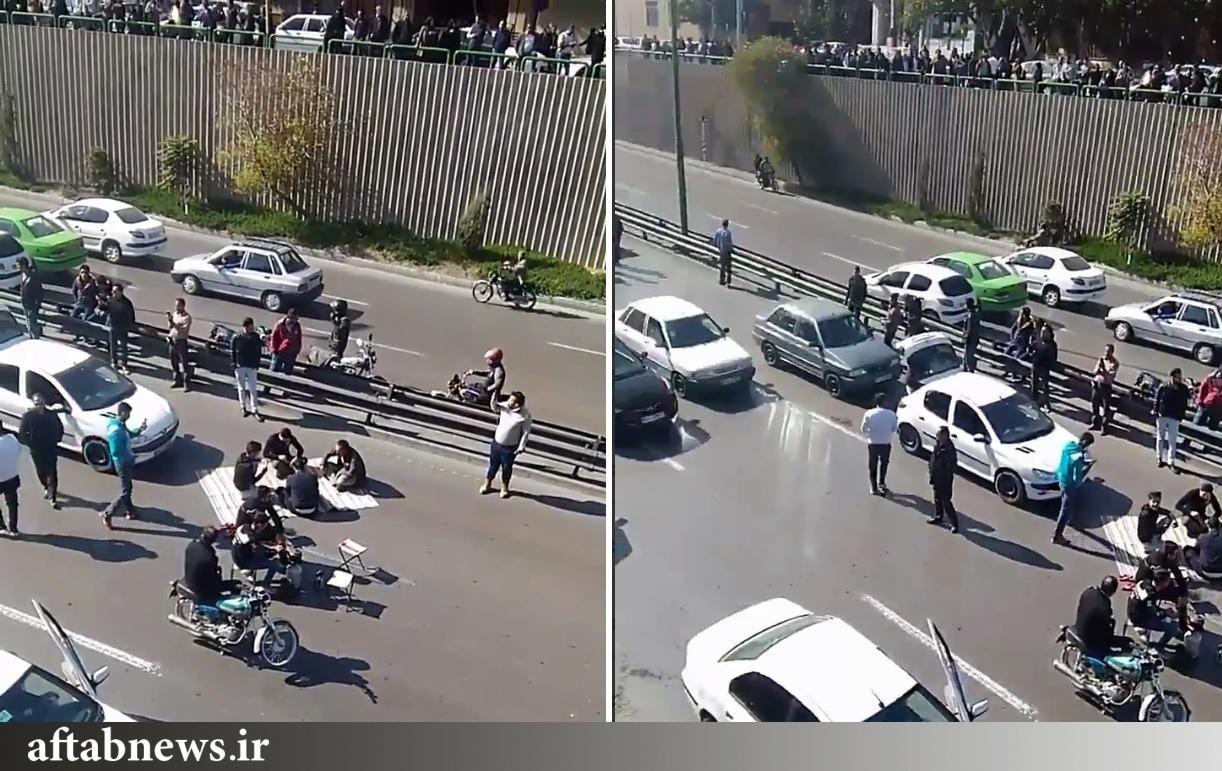 عکس| بساط قلیان و چای وسط اعتراضات بنزینی