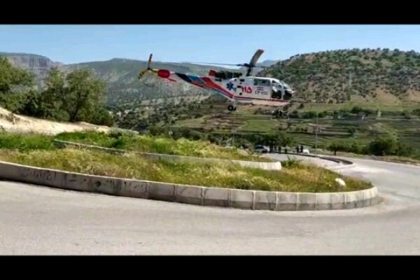 حمله خرس به کوهنورد ایلامی/نجات فرد مصدوم توسط بالگرد اورژانس