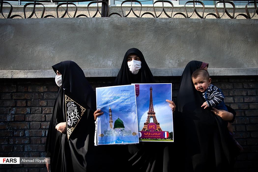 تصاویر| تجمع مقابل سفارت فرانسه در تهران